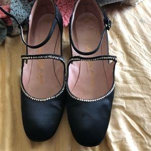Saks Fifth Avenue black and rhinestone shoes.